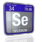 Selenium symbol  in square shape with metallic border and transparent background with reflection on the floor. 3D render. Element number 34 of the Periodic Royalty Free Stock Photo