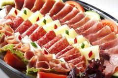 Seleção curada da carne e do queijo Foto de Stock