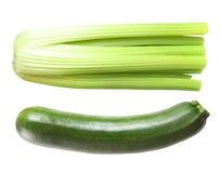 Seler i zucchini odizolowywający na bielu Fotografia Royalty Free