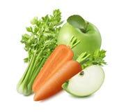 Seler, marchewka i zieleni jabłko odizolowywający na białym tle, obraz stock
