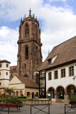 Selestat cityscape with the St. George's Church. Selestat is a commune in the Bas-Rhin department in Alsace, France. The Gothic St. George's Church was founded royalty free stock photo