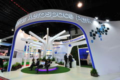 Seletar Aerospace Park booth showcasing airport developments at Singapore Airshow Stock Photography