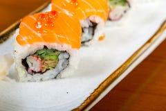 Selezione choice dell'assortimento di miscuglio dei sushi freschi Immagine Stock
