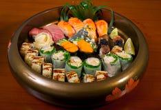 Selezione choice dell'assortimento di miscuglio dei sushi freschi Fotografie Stock