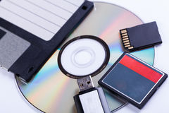 Selezione dei dispositivi di archiviazione differenti del computer Fotografie Stock