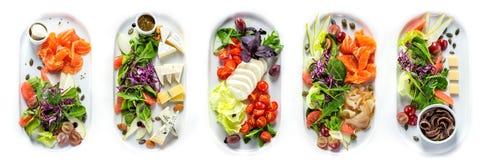 Selezione dei generi differenti di formaggio e di pesce Fotografie Stock