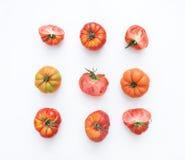 Selezione dei pomodori di cimelio su un bianco Fotografia Stock Libera da Diritti