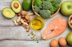 Selezione dei prodotti sani Concetto di dieta equilibrata immagini stock libere da diritti