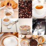 Selezione del tipo differente del caffè sulla composizione nel collage Fotografia Stock