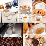 Selezione del tipo differente del caffè sulla composizione nel collage Immagine Stock