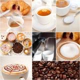 Selezione del tipo differente del caffè sulla composizione nel collage Fotografie Stock