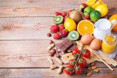 Selezione dell'alimento di allergia, concetto sano di vita Immagine Stock Libera da Diritti
