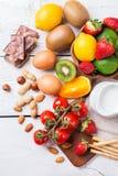 Selezione dell'alimento di allergia, concetto sano di vita Immagini Stock