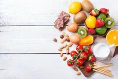 Selezione dell'alimento di allergia, concetto sano di vita Immagine Stock