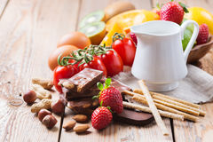 Selezione dell'alimento di allergia, concetto sano di vita Fotografia Stock Libera da Diritti