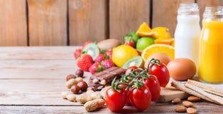 Selezione dell'alimento di allergia, concetto sano di vita Fotografie Stock