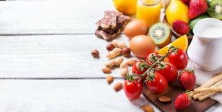 Selezione dell'alimento di allergia, concetto sano di vita Fotografia Stock