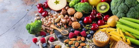Selezione dell'alimento ricco sano del vegano di fonti della fibra per cucinare immagine stock libera da diritti