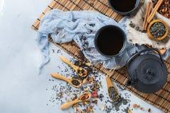 Selezione della teiera di erbe cinese giapponese del tè di masala Fotografie Stock Libere da Diritti