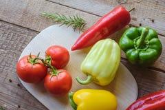 Selezione della verdura variopinta sulla tavola di legno Fotografie Stock