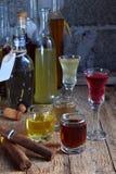 Selezione delle bevande alcoliche e dei sigari Insieme di vino, brandy, liquore, tintura, cognac, whiskey in vetri, bottiglie Gra Immagini Stock