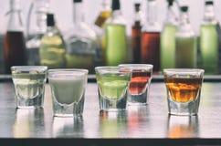 Selezione delle bevande alcoliche Insieme di vino, brandy, liquore, tintura, cognac, whiskey in vetri, bottiglie Grande varietà d Fotografie Stock