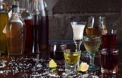 Selezione delle bevande alcoliche Insieme di vino, brandy, liquore, tintura, cognac, whiskey in vetri, bottiglie Grande varietà d Fotografie Stock Libere da Diritti