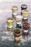 Selezione delle bevande alcoliche Insieme di vino, brandy, liquore, tintura, cognac, whiskey in vetri Grande varietà di alcool e  Immagine Stock Libera da Diritti