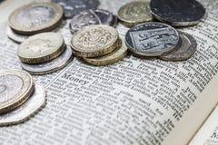 Selezione delle monete inglesi Immagine Stock
