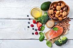 Selezione di alimento sano per cuore, concetto di vita Fotografie Stock Libere da Diritti