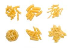 Selezione di pasta cruda, isolata Fotografia Stock