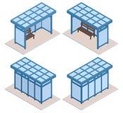 Selezione di stazione blu isometrica di trasporto royalty illustrazione gratis
