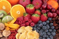 Selezione di Superfood della frutta Fotografie Stock Libere da Diritti