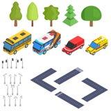 Selezione isometrica della strada e delle automobili royalty illustrazione gratis