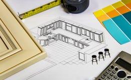 Selezione materiale di rinnovamento della cucina con la porta della cucina, i campioni del gabinetto, i contatori di cucina ed i  fotografia stock