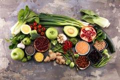 Selezione pulita di cibo dell'alimento sano E fotografie stock