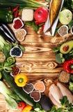 Selezione pulita di cibo dell'alimento sano E fotografia stock