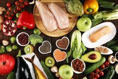 Selezione pulita di cibo dell'alimento sano E immagini stock