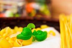 Selezione a secco mista della pasta con basilico, alimento italiano fotografie stock libere da diritti