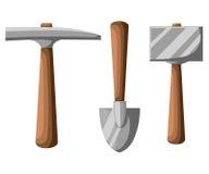 Selezioni l'illustrazione degli strumenti, della pala e del piccone di estrazione mineraria della pala isolata su bianco Immagini Stock