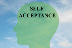 Self Acceptance concept. Render illustration of SELF ACCEPTANCE script on head silhouette, with cloudy sky as a background Stock Photo