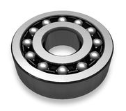Self-aligning ball bearing. Close view of self-aligning ball bearing isolated over white Royalty Free Stock Photos
