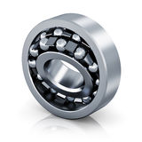 Self-aligning ball bearing. Metal steel shiny self-aligning ball bearing  isolated on white background with reflection effect Royalty Free Stock Image