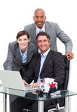 Self-assured business team working at a computer Royalty Free Stock Image
