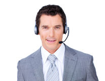 Self-assured businessman using headset Royalty Free Stock Photos