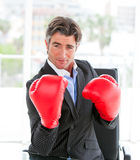 Self-assured businessman wearing boxing gloves Stock Photography