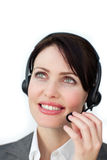 Self-assured businesswoman with headset Royalty Free Stock Image