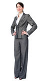 Self assured businesswoman standing. Against a white background stock photos