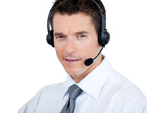 Self-assured man with headset on Royalty Free Stock Images