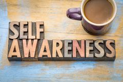 Self awareness word abstract in wood type Stock Photo